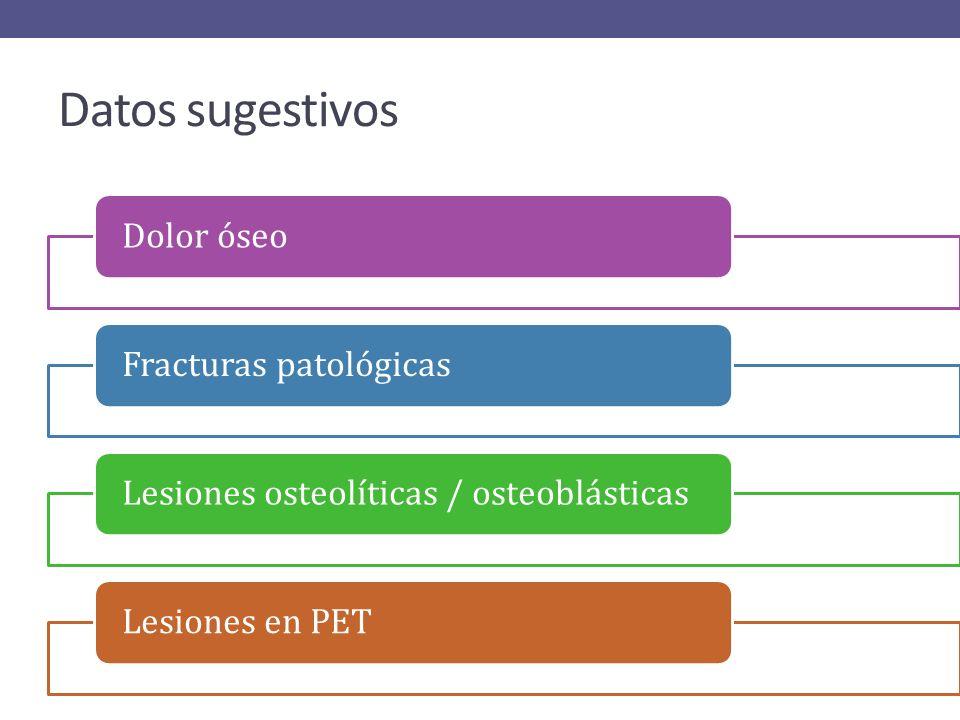 Datos sugestivos Dolor óseo Fracturas patológicas