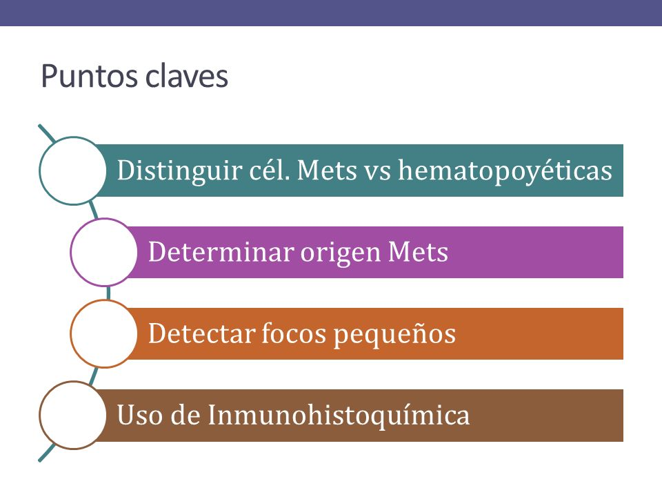 Puntos claves Distinguir cél. Mets vs hematopoyéticas