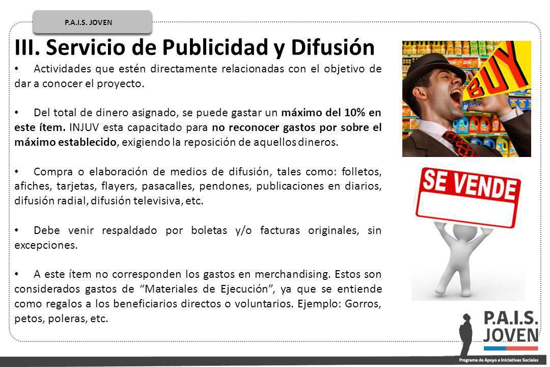 III. Servicio de Publicidad y Difusión