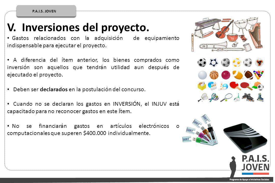 V. Inversiones del proyecto.
