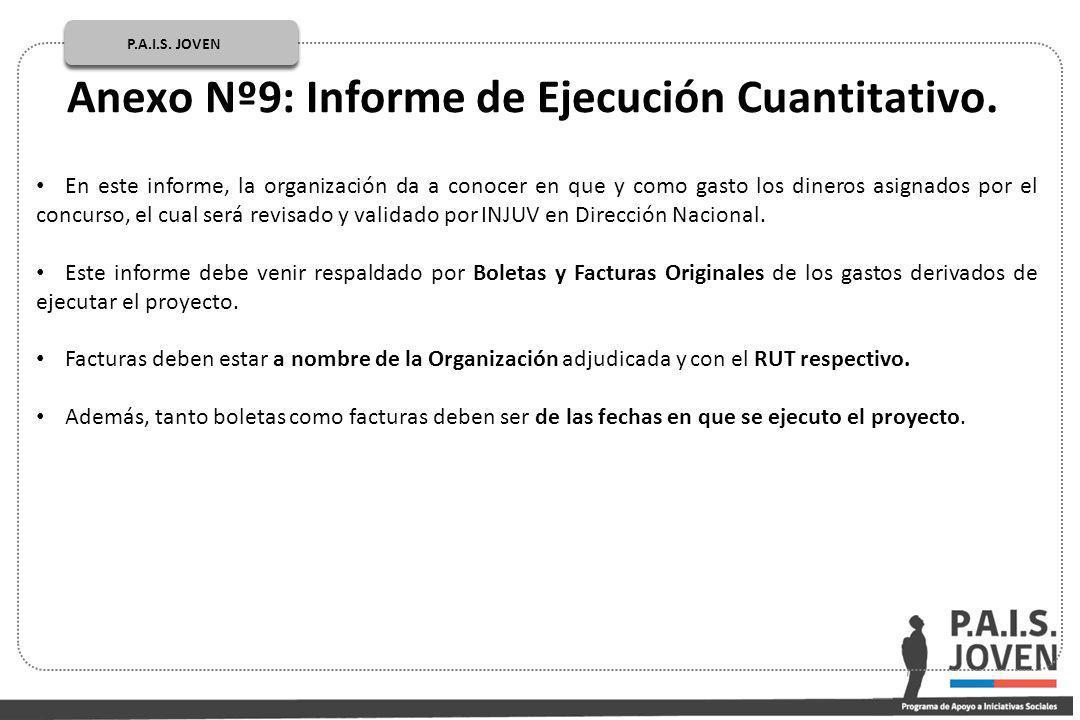 Anexo Nº9: Informe de Ejecución Cuantitativo.