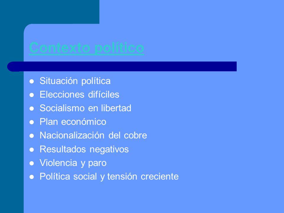 Contexto político Situación política Elecciones difíciles