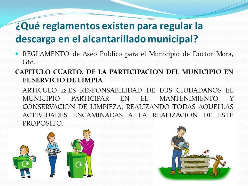 ¿Qué reglamentos existen para regular la descarga en el alcantarillado municipal