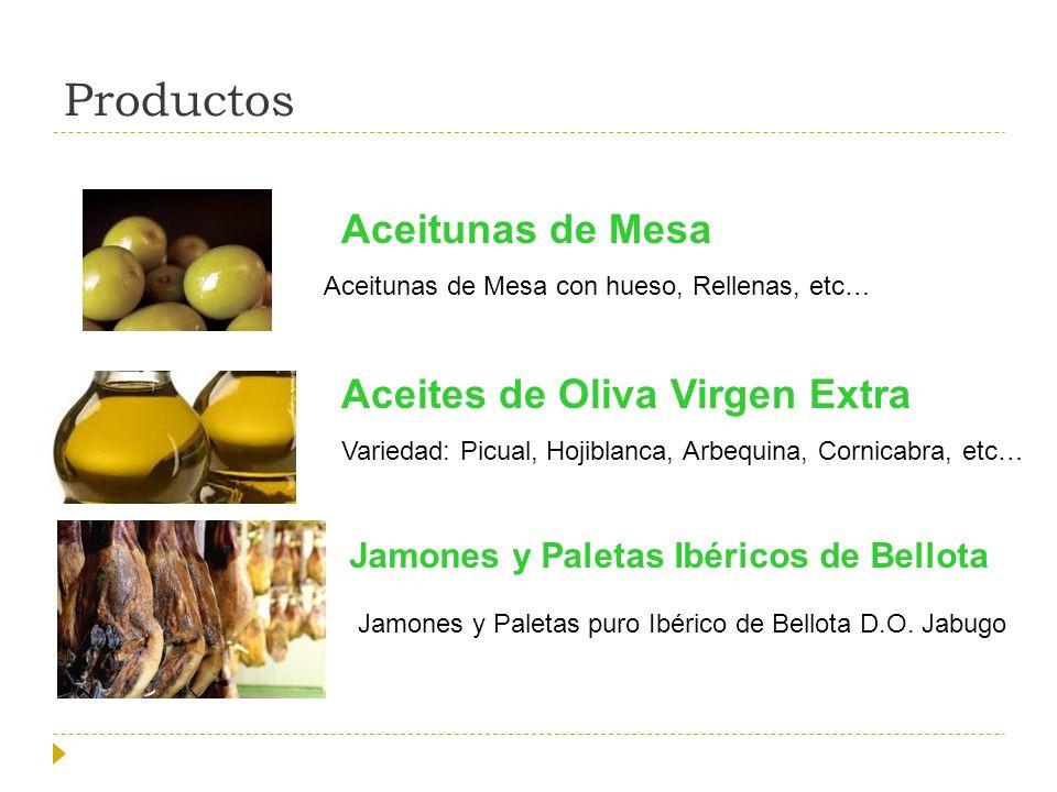 Productos Aceitunas de Mesa Aceites de Oliva Virgen Extra