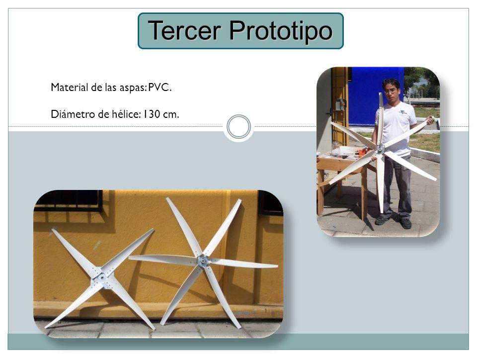 Tercer Prototipo Material de las aspas: PVC.
