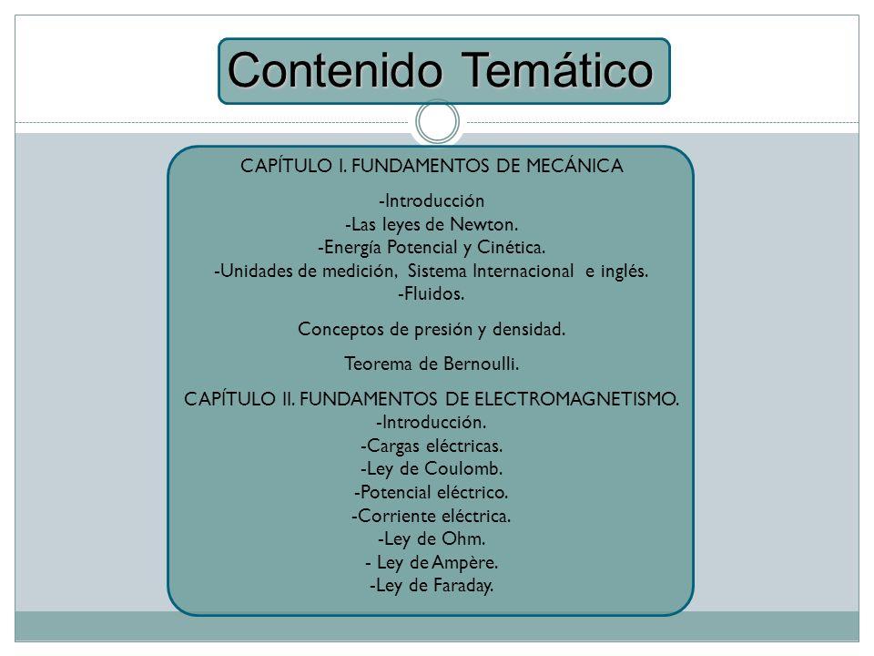 Contenido Temático CAPÍTULO I. FUNDAMENTOS DE MECÁNICA