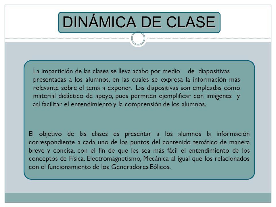 DINÁMICA DE CLASE La impartición de las clases se lleva acabo por medio de diapositivas.