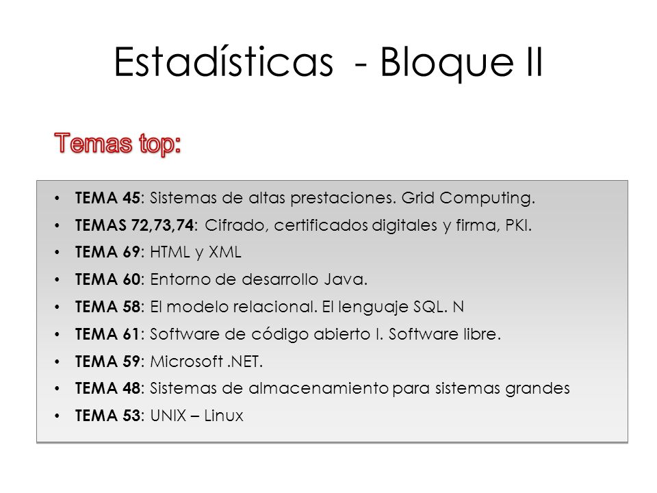 Estadísticas - Bloque II