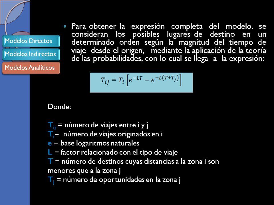 Para obtener la expresión completa del modelo, se consideran los posibles lugares de destino en un determinado orden según la magnitud del tiempo de viaje desde el origen, mediante la aplicación de la teoría de las probabilidades, con lo cual se llega a la expresión: