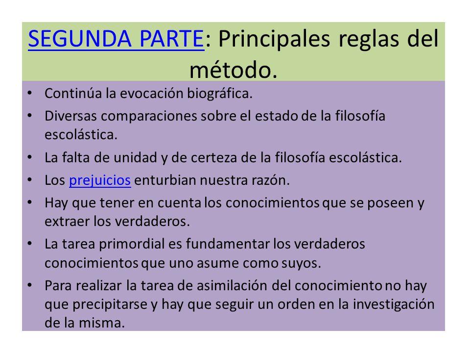 SEGUNDA PARTE: Principales reglas del método.