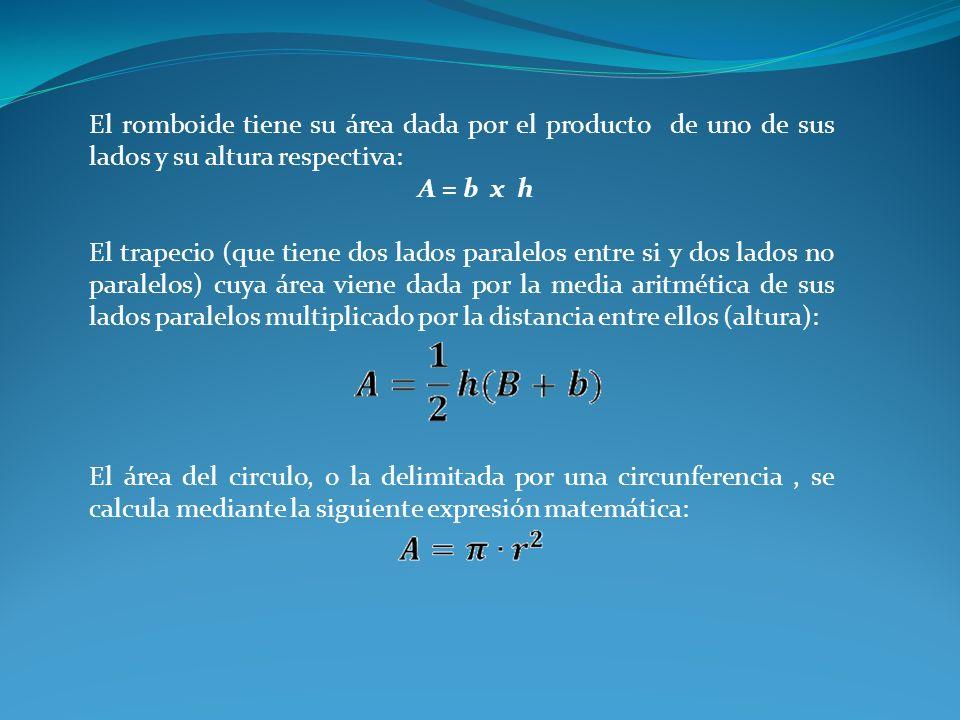 El romboide tiene su área dada por el producto de uno de sus lados y su altura respectiva:
