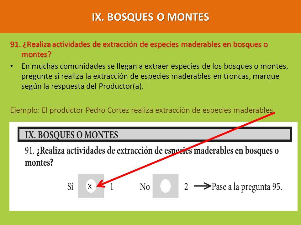 IX. BOSQUES O MONTES 91. ¿Realiza actividades de extracción de especies maderables en bosques o montes
