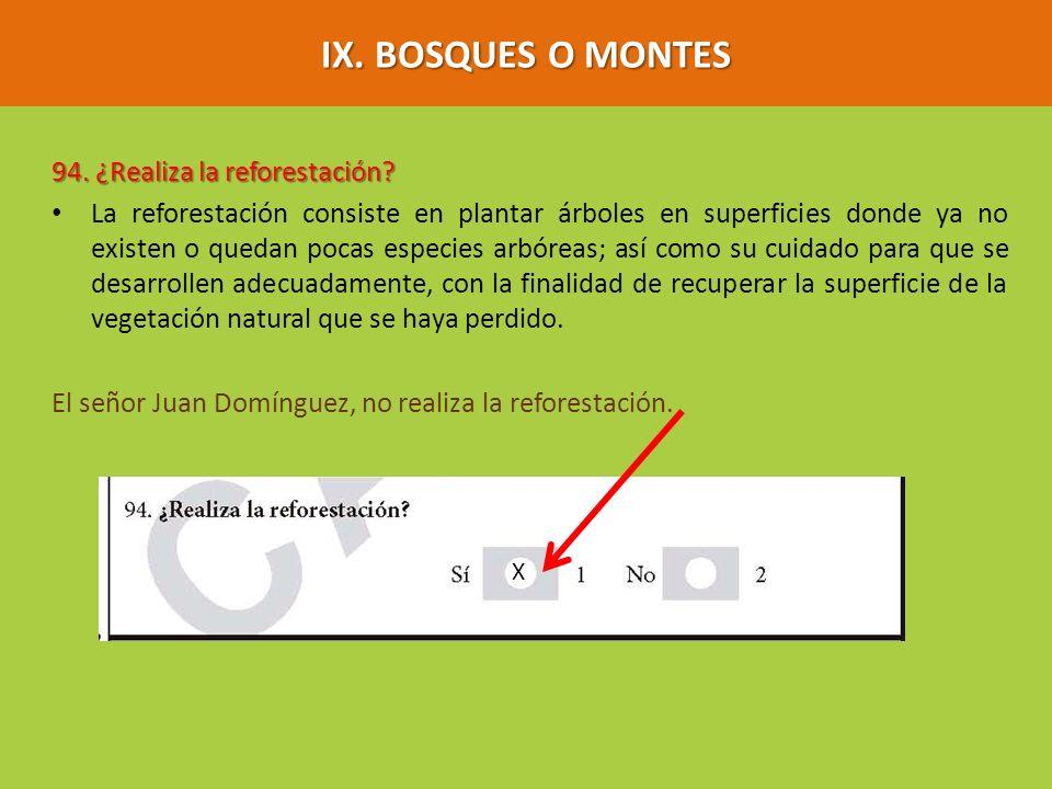 IX. BOSQUES O MONTES 94. ¿Realiza la reforestación