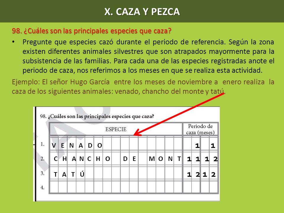 X. CAZA Y PEZCA 98. ¿Cuáles son las principales especies que caza