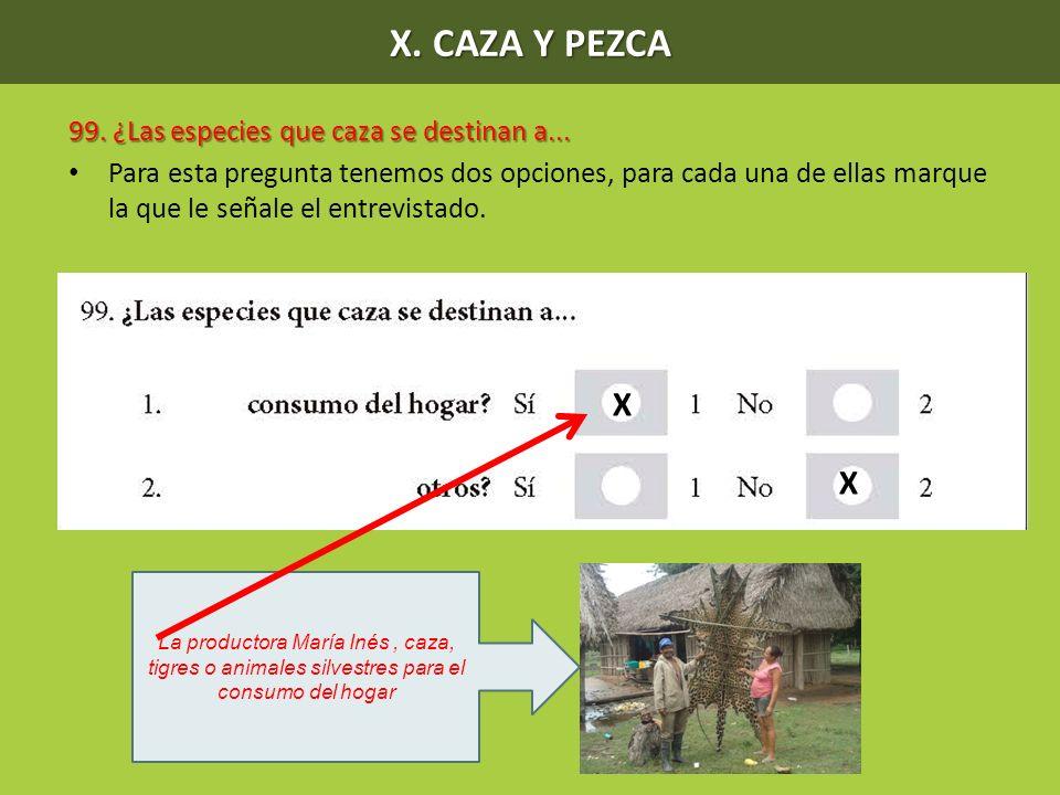 X. CAZA Y PEZCA X 99. ¿Las especies que caza se destinan a...