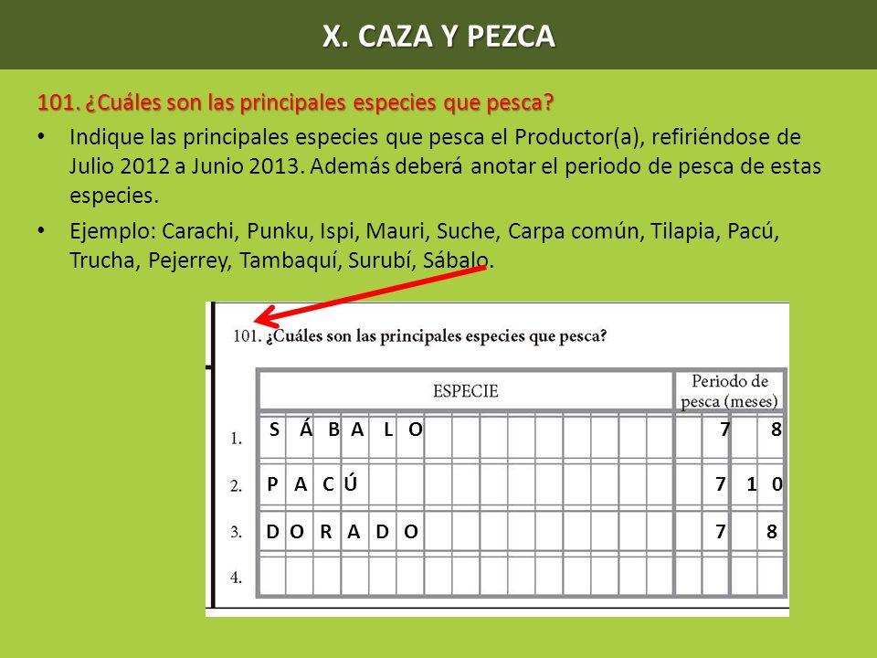 X. CAZA Y PEZCA 101. ¿Cuáles son las principales especies que pesca