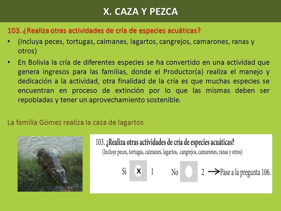 X. CAZA Y PEZCA 103. ¿Realiza otras actividades de cría de especies acuáticas