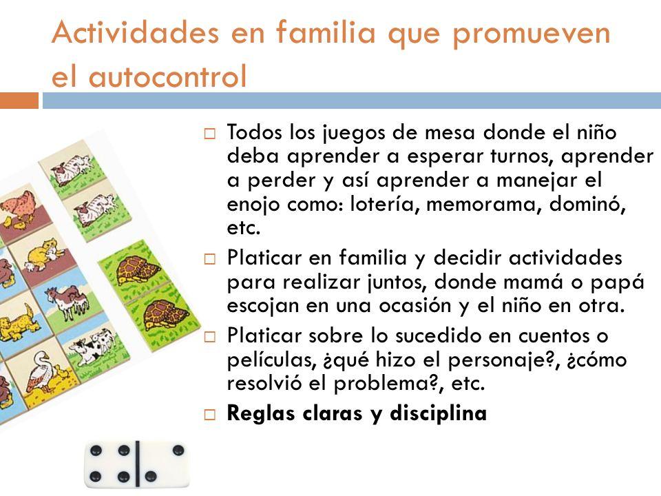 Actividades en familia que promueven el autocontrol