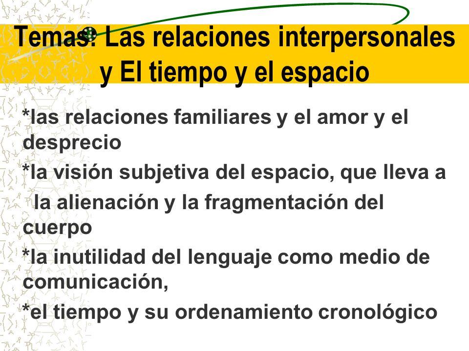 Temas: Las relaciones interpersonales y El tiempo y el espacio