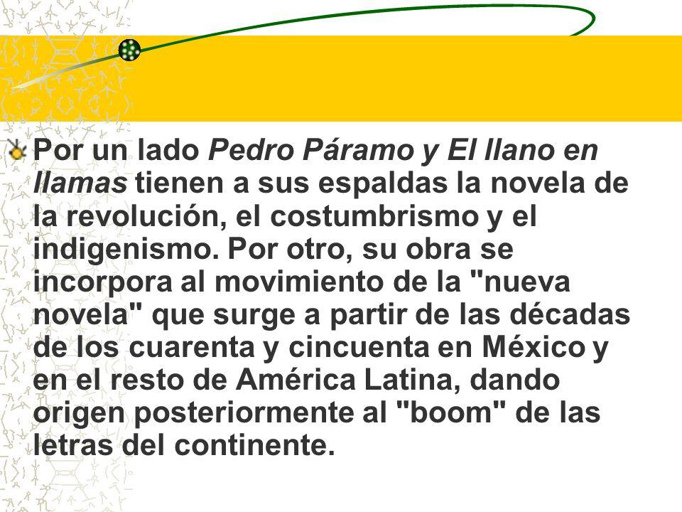 Por un lado Pedro Páramo y El llano en llamas tienen a sus espaldas la novela de la revolución, el costumbrismo y el indigenismo.