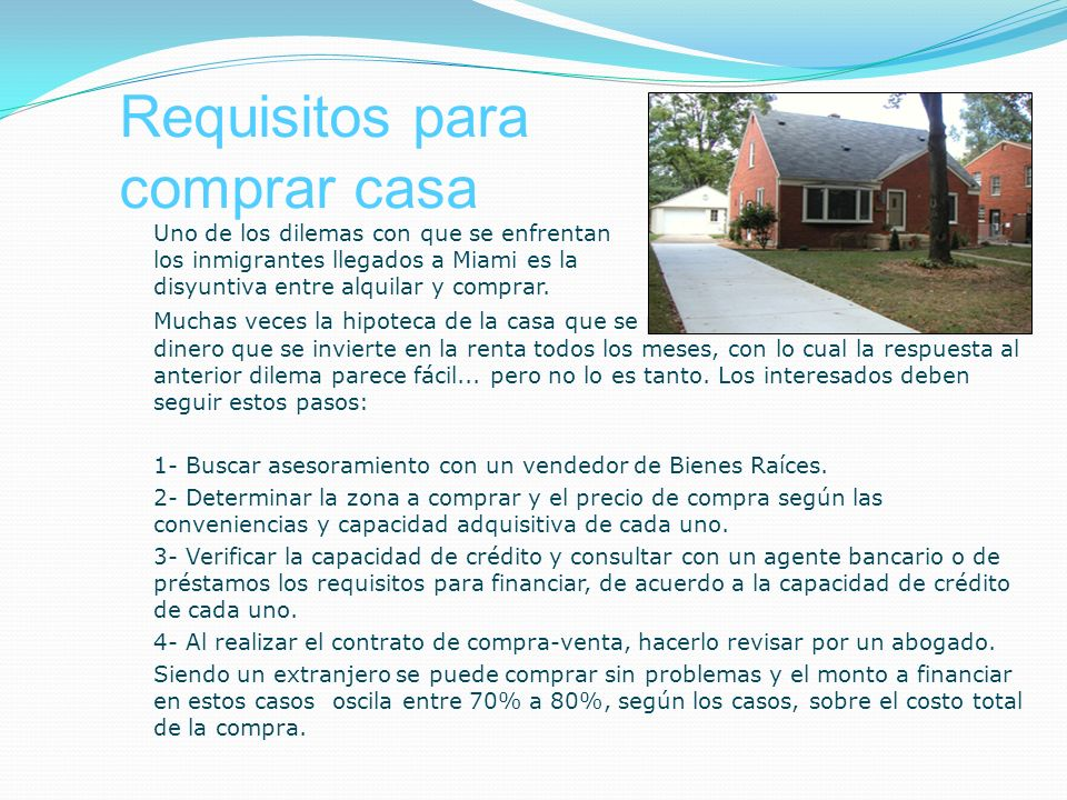 Requisitos para comprar casa