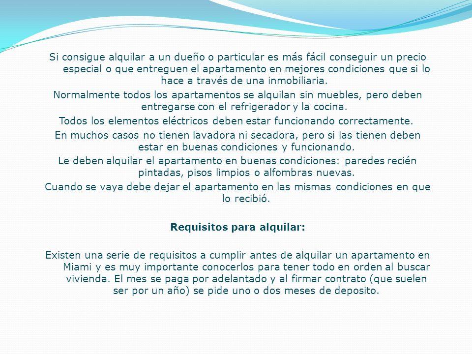 Requisitos para alquilar: