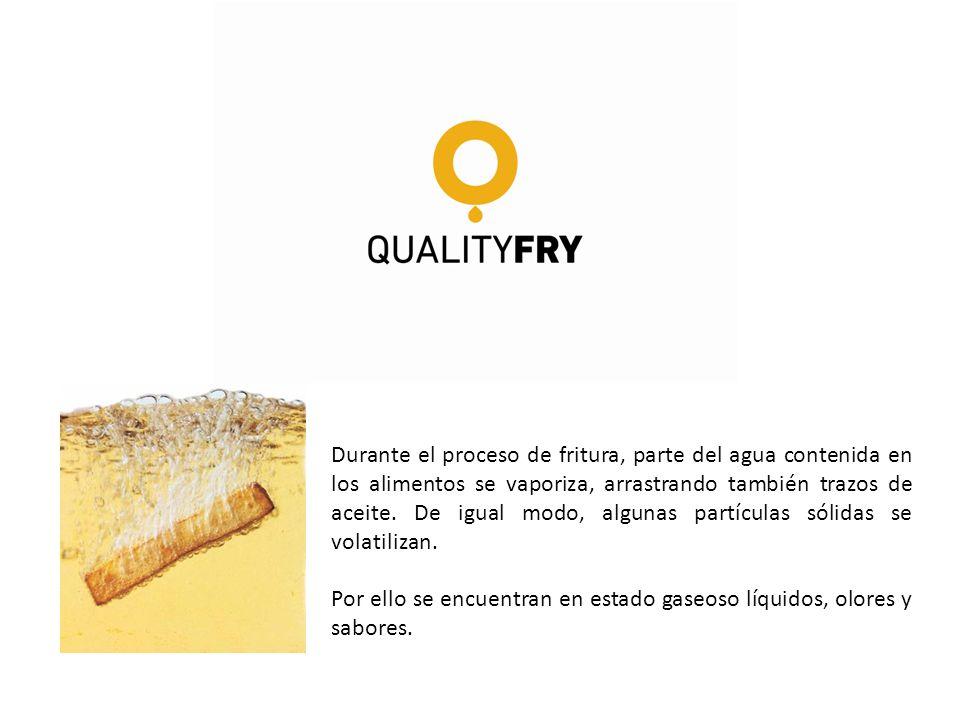 Durante el proceso de fritura, parte del agua contenida en los alimentos se vaporiza, arrastrando también trazos de aceite. De igual modo, algunas partículas sólidas se volatilizan.