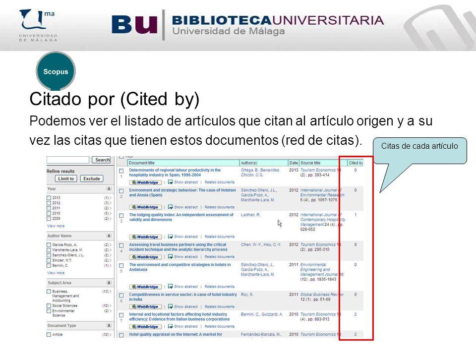 Citado por (Cited by) Podemos ver el listado de artículos que citan al artículo origen y a su.