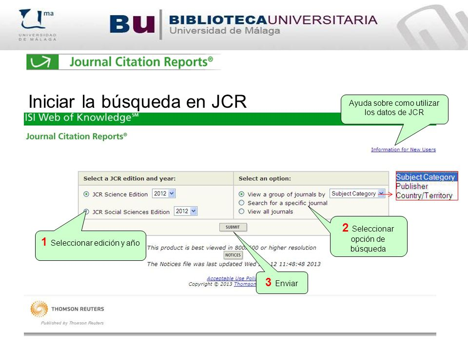 Iniciar la búsqueda en JCR