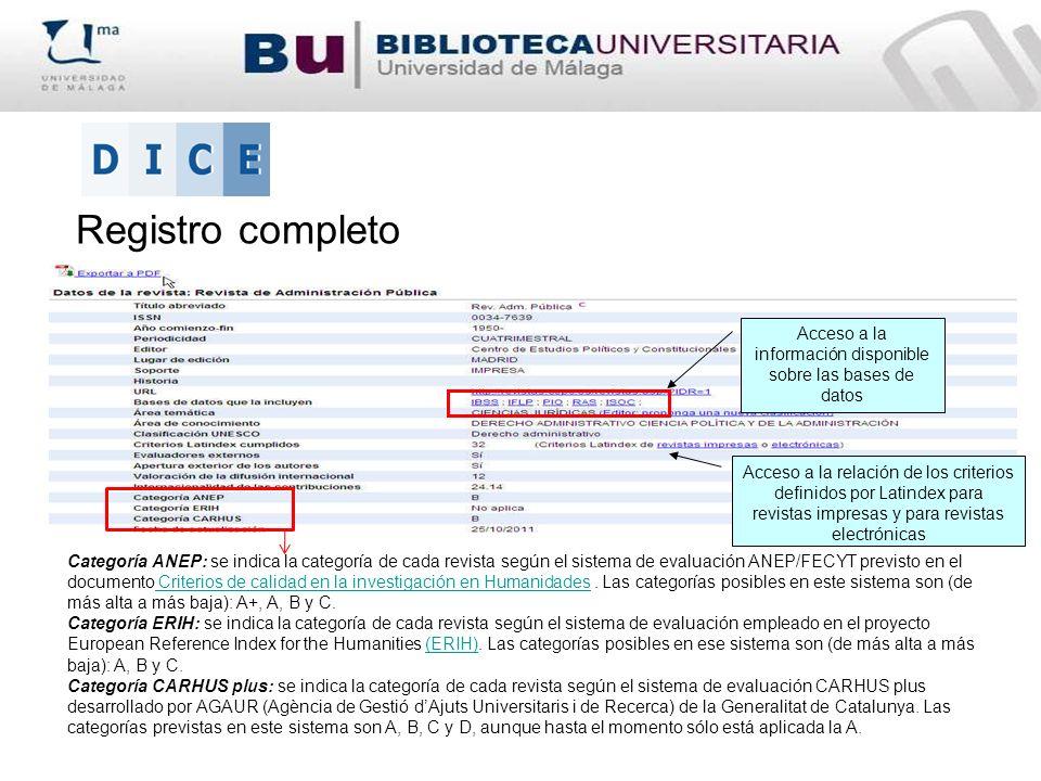 Acceso a la información disponible sobre las bases de datos