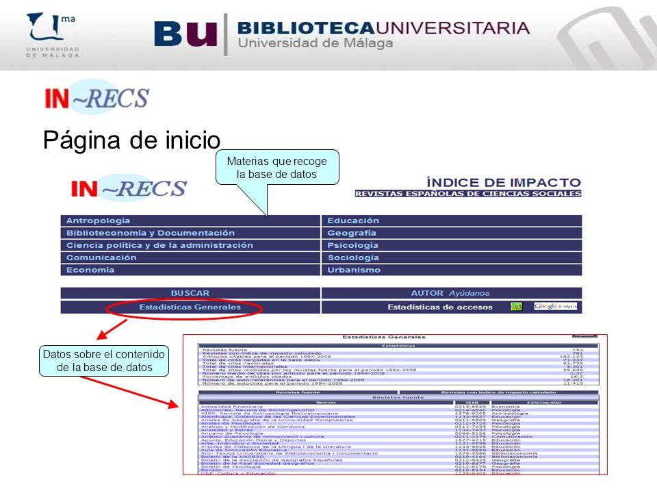 Página de inicio Materias que recoge la base de datos