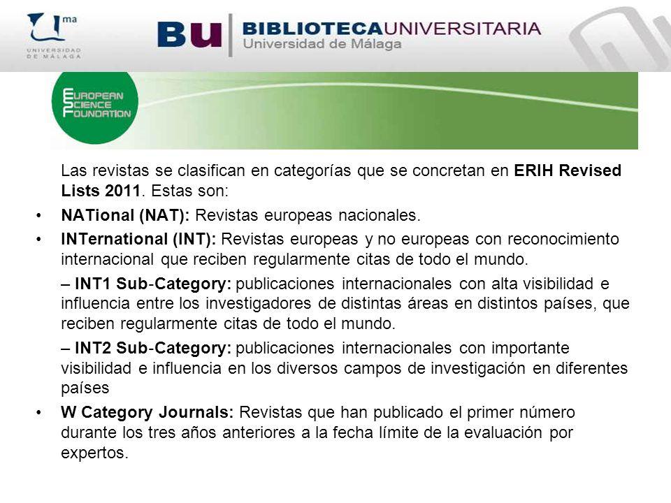 Las revistas se clasifican en categorías que se concretan en ERIH Revised Lists 2011. Estas son:
