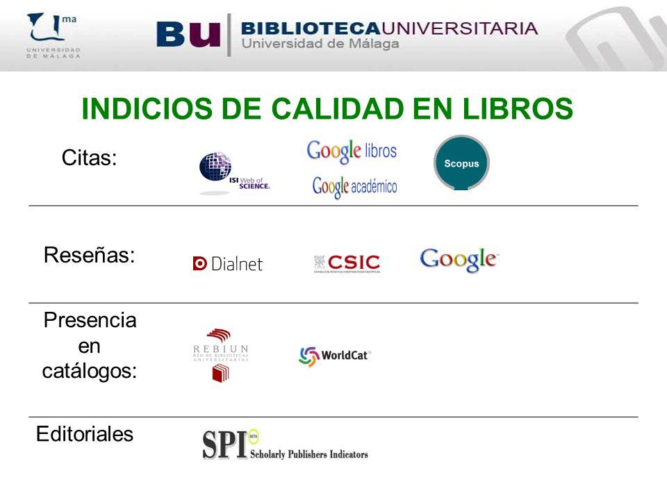 INDICIOS DE CALIDAD EN LIBROS