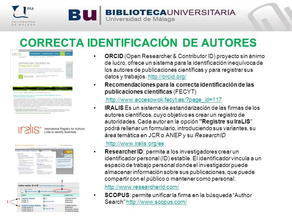 CORRECTA IDENTIFICACIÓN DE AUTORES