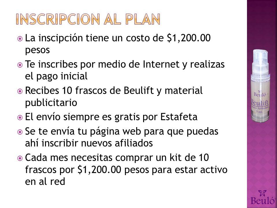 Inscripcion al plan La inscipción tiene un costo de $1,200.00 pesos