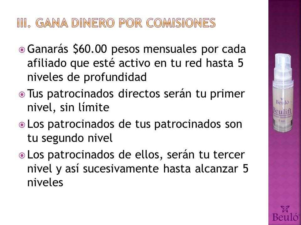III. Gana dinero por comisiones