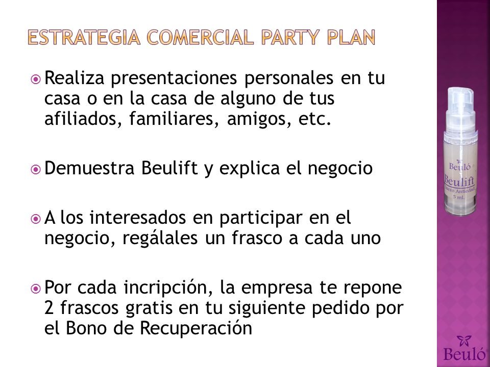 Estrategia comercial party plan