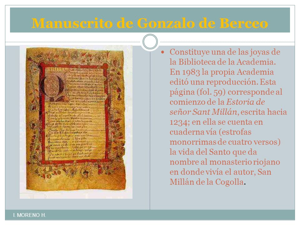 Manuscrito de Gonzalo de Berceo