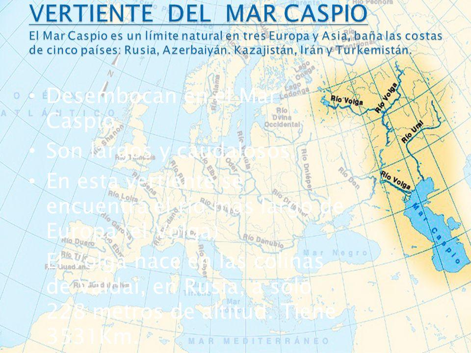VERTIENTE DEL MAR CASPIO El Mar Caspio es un límite natural en tres Europa y Asia, baña las costas de cinco países: Rusia, Azerbaiyán. Kazajistán, Irán y Turkemistán.