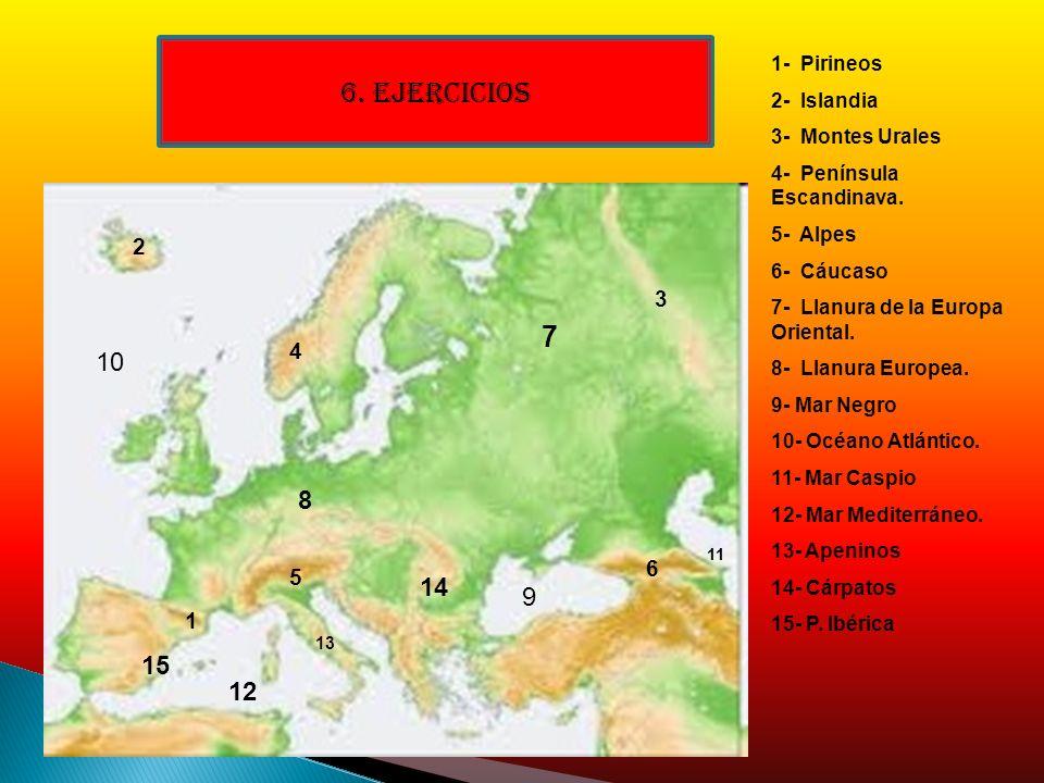 6. EJERCICIOS 7 10 8 14 9 15 12 2 3 4 6 5 1 1- Pirineos 2- Islandia