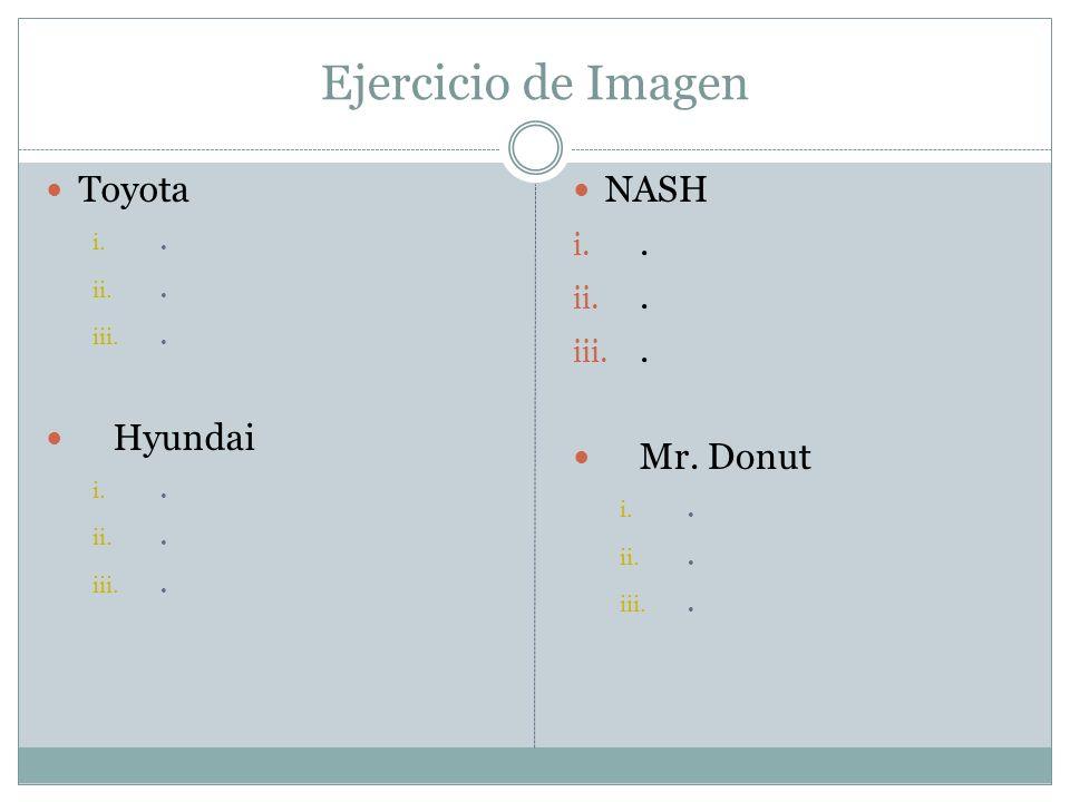 Ejercicio de Imagen Toyota . Hyundai NASH . Mr. Donut