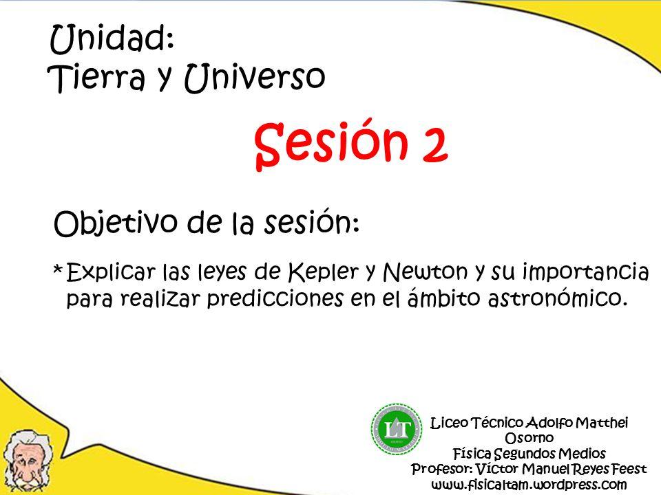 Sesión 2 Unidad: Tierra y Universo Objetivo de la sesión: