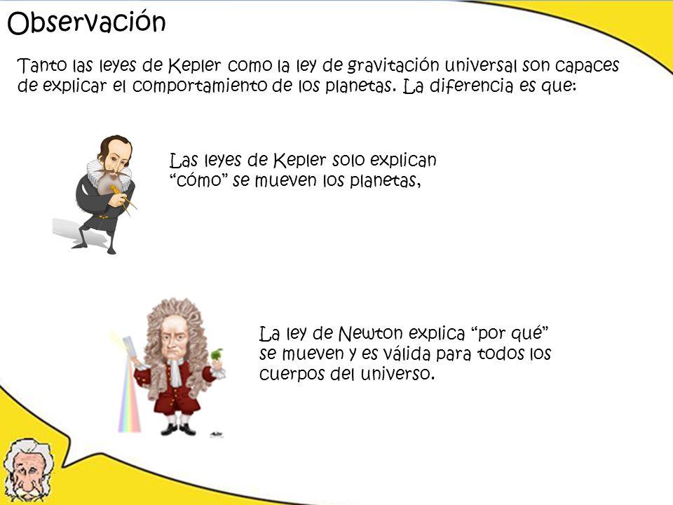 Observación Tanto las leyes de Kepler como la ley de gravitación universal son capaces.