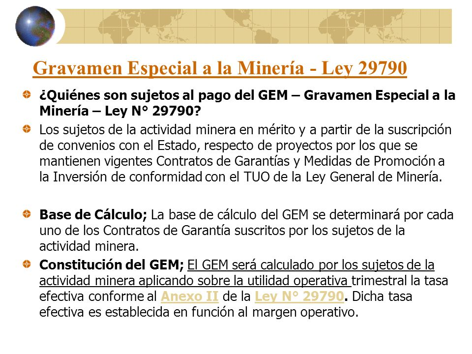 Gravamen Especial a la Minería - Ley 29790