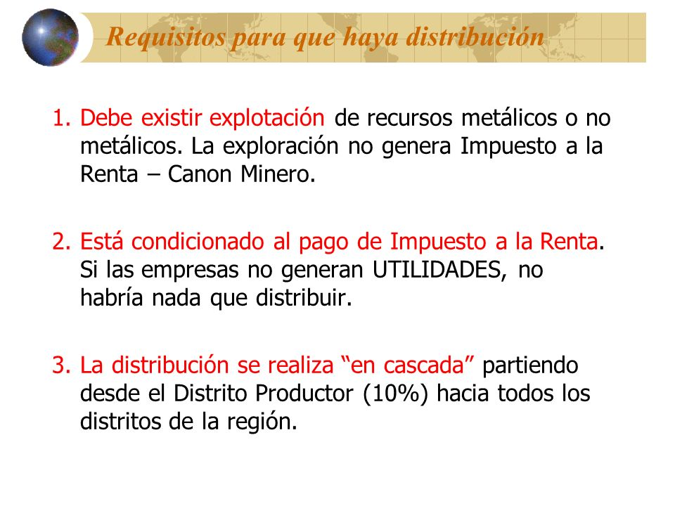 Requisitos para que haya distribución