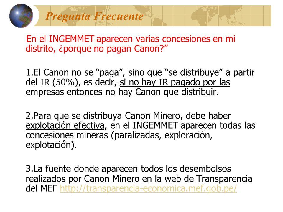 Pregunta Frecuente En el INGEMMET aparecen varias concesiones en mi distrito, ¿porque no pagan Canon