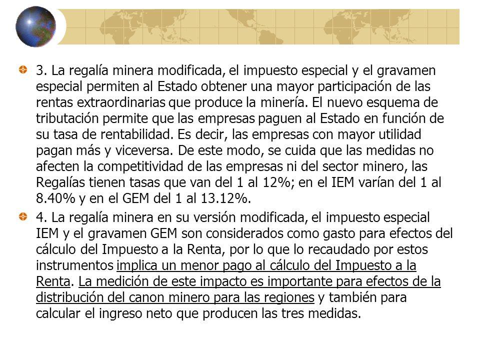 3. La regalía minera modificada, el impuesto especial y el gravamen especial permiten al Estado obtener una mayor participación de las rentas extraordinarias que produce la minería. El nuevo esquema de tributación permite que las empresas paguen al Estado en función de su tasa de rentabilidad. Es decir, las empresas con mayor utilidad pagan más y viceversa. De este modo, se cuida que las medidas no afecten la competitividad de las empresas ni del sector minero, las Regalías tienen tasas que van del 1 al 12%; en el IEM varían del 1 al 8.40% y en el GEM del 1 al 13.12%.