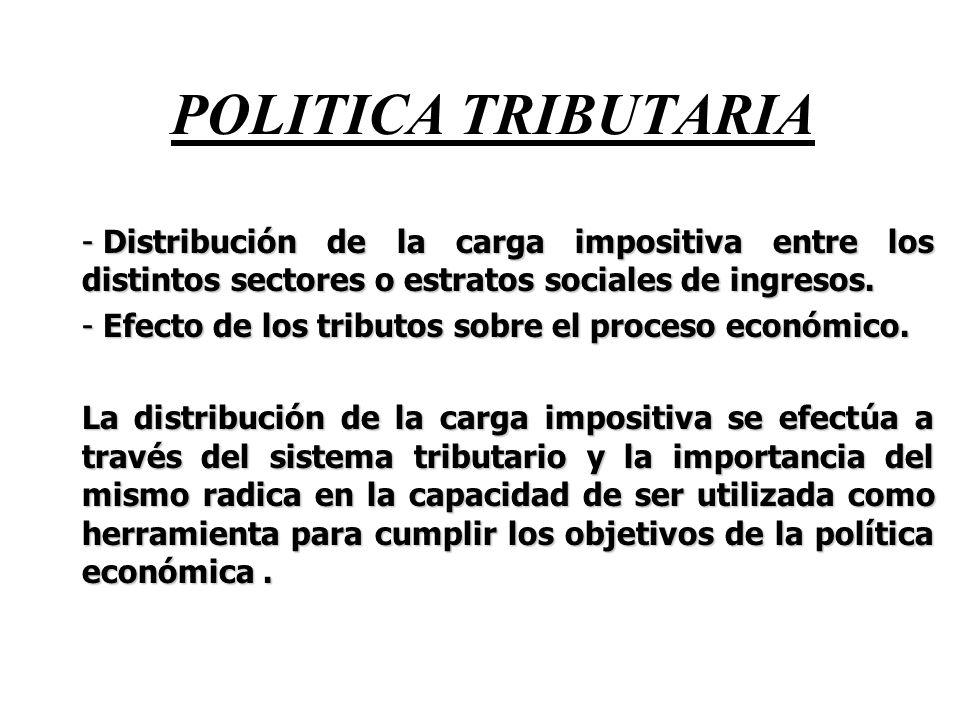 POLITICA TRIBUTARIA Distribución de la carga impositiva entre los distintos sectores o estratos sociales de ingresos.