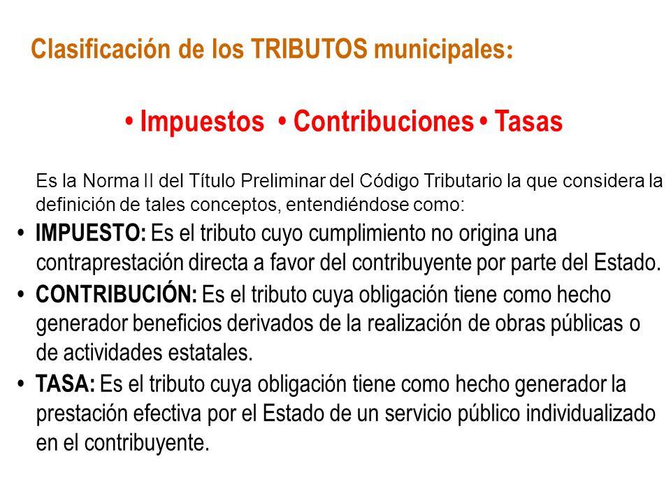 Clasificación de los TRIBUTOS municipales: