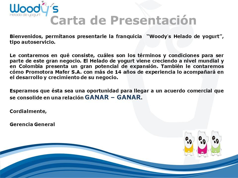 Carta de Presentación Bienvenidos, permítanos presentarle la franquicia Woody´s Helado de yogurt , tipo autoservicio.